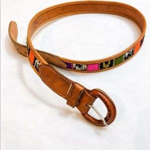 Accessories - Leather belt with western saddle blanket design